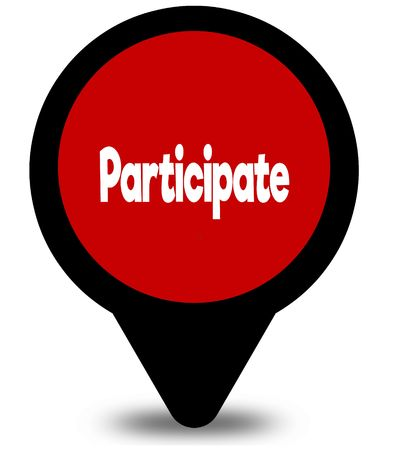 PARTICIPATE on red location pointer illustration graphic