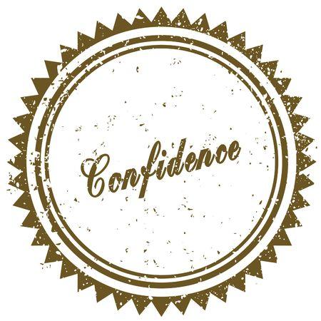 Brown CONFIDENCE grunge stamp. Illustration image concept