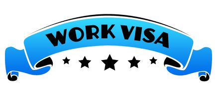 Blue band with WORK VISA text. Illustration graphic concept