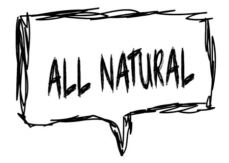 ALL NATURAL on a pencil sketched sign. Illustration graphic concept. Stockfoto