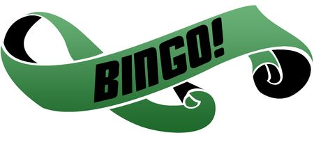 Green scrolled ribbon with BINGO   message. Illustration image