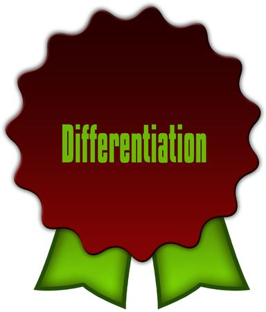 DIFFERENTIATION on red seal with green ribbons. Illustration