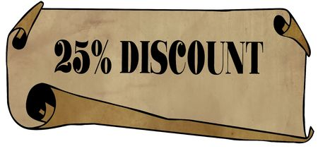 25 PERCENT DISCOUNT on old rolled paper. Illustration graphic concept image Stockfoto
