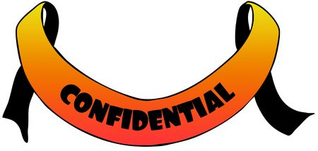 Orange ribbon withCONFIDENTIAL text. Illustration concept image Stockfoto