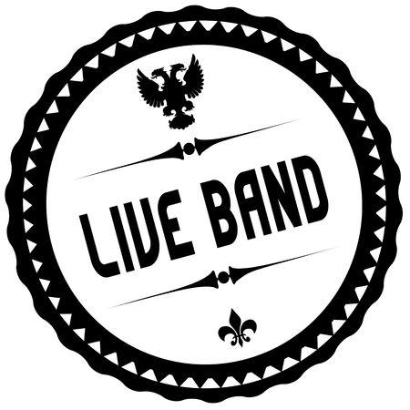 LIVE BAND black stamp. Illustration graphic concept image