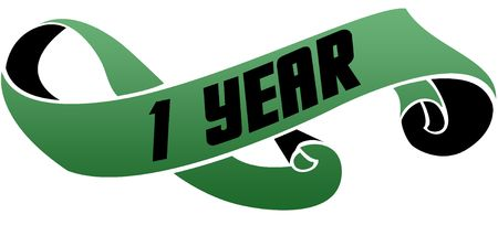 Green scrolled ribbon with 1 YEAR message. Illustration image