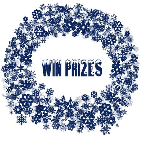 Snowy WIN PRIZES text in snowflake frame. Illustration concept