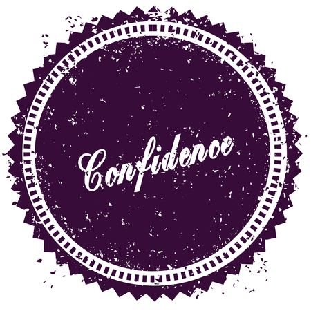 Purple CONFIDENCE distressed stamp. Illustration image concept