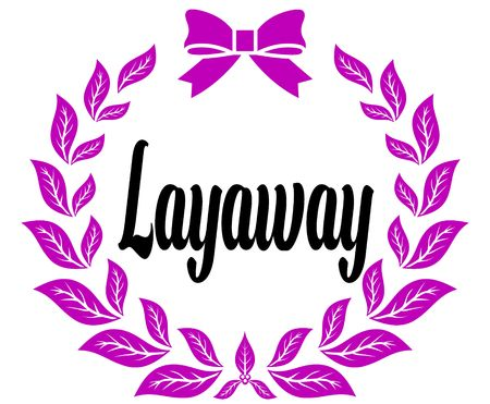 LAYAWAY with pink laurels ribbon and bow. Illustration concept Stockfoto - 100395685