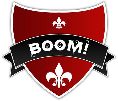 BOOM   on black ribbon above red shield. Illustration Stockfoto