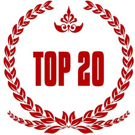 TOP 20 red laurels badge. Illustration image concept