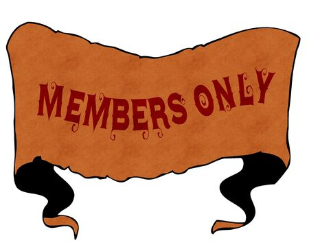 MEMBERS ONLY written with vintage font on cartoon vintage ribbon. Illustration