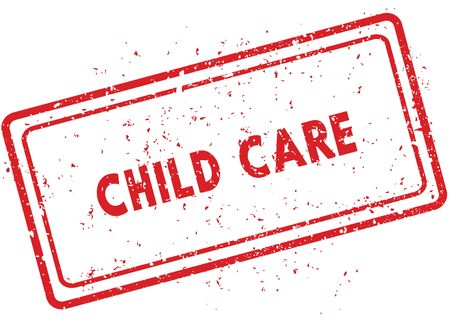 Red CHILD CARE rubber stamp. Illustration graphic image concept