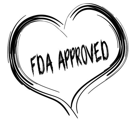 Sketched black heart with FDA APPROVED text. Illustration graphic concept