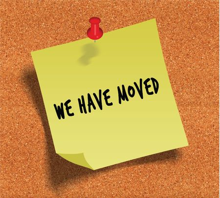 WE HAVE MOVED handwritten on yellow sticky paper note over cork noticeboard background. Illustration