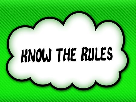 Comic style cloud with KNOW THE RULES writing on bright green background. Illustration Stock Photo