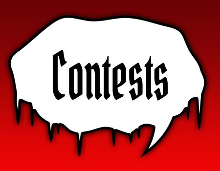 Horror speech bubble with CONTESTS text message. Red background. Illustration concept Stockfoto