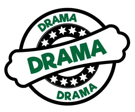 Black and green DRAMA stamp. Illustration graphic concept Stockfoto
