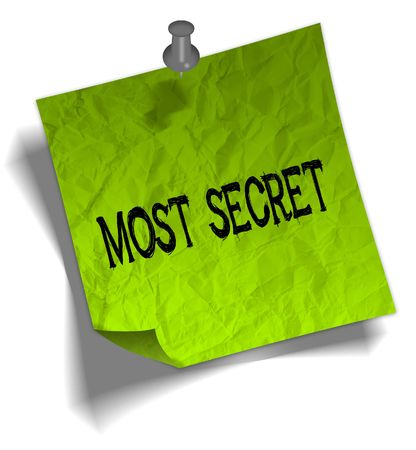 Green note paper with MOST SECRET message and push pin graphic illustration. Stockfoto