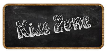 KIDS ZONE written in chalk on blackboard. Wood frame. Illustration Stockfoto - 100395725