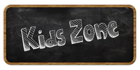 KIDS ZONE written in chalk on blackboard. Wood frame. Illustration