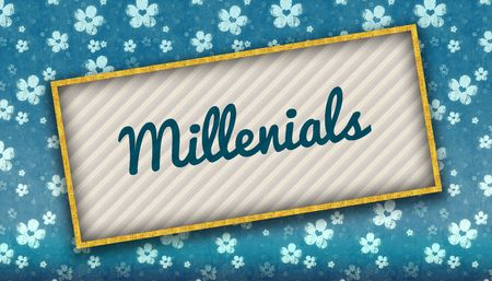 Painting with MILLENIALS message on blue wallpaper with flowers. Illustration Stockfoto