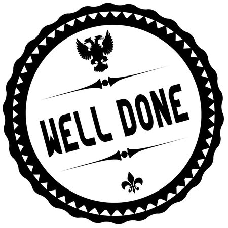 WELL DONE black stamp. Illustration graphic concept image Stockfoto