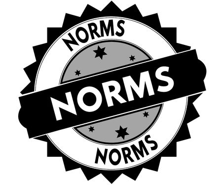 Black round stamp with NORMS text. Illustration Stockfoto
