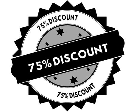 Black round stamp with 75 PERCENT DISCOUNT text. Illustration Stockfoto