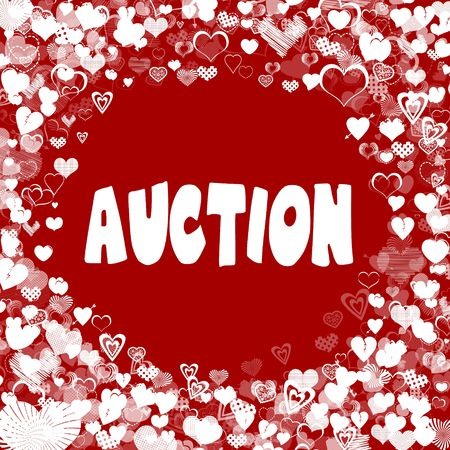 Hearts frame with AUCTION text on red background. Illustration