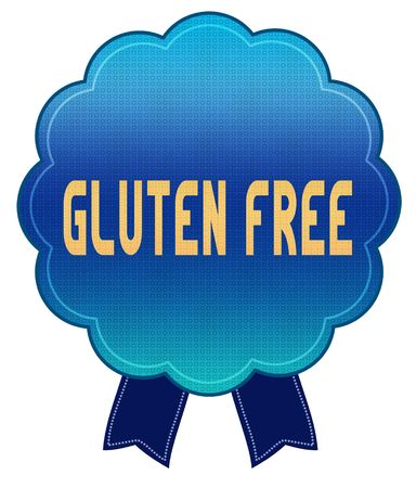 Blue GLUTEN FREE ribbon badge. Illustration graphic design concept image Stockfoto - 100395737