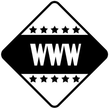 WWW on black diamond shaped sticker label. Illustration