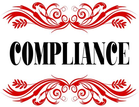 COMPLIANCE red floral text frame. Illustration concept Stock Photo