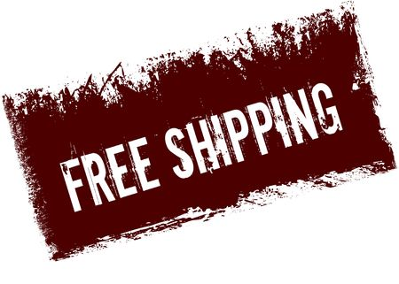 FREE SHIPPING on red retro distressed background. Illustration image