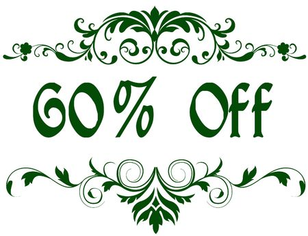 Green frame with 60 PERCENT OFF text. Illustration image concept Stockfoto