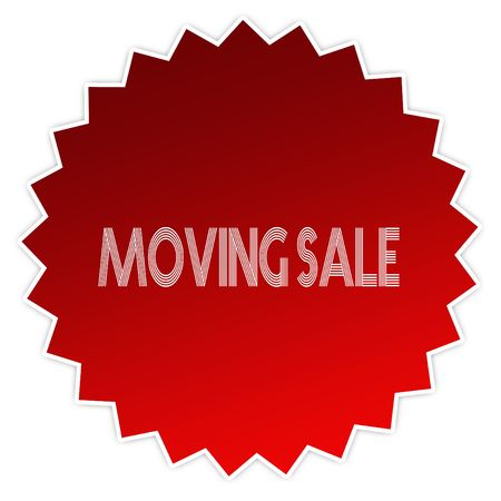 MOVING SALE on red sticker label. Illustration graphic design concept image