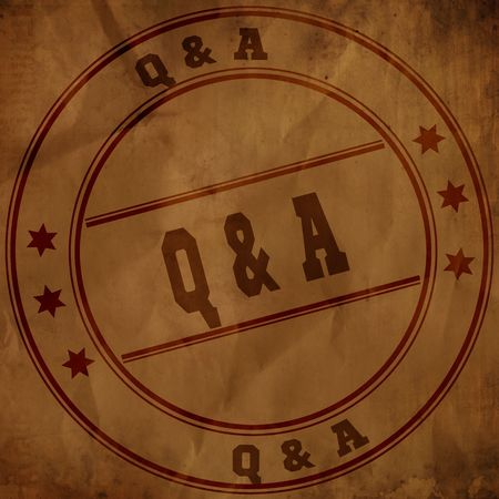 Q A QUESTIONS AND ANSWERS stamp on old brown crumpled paper. Illustration Stockfoto