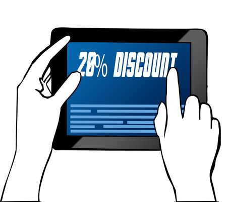 Hand pointing at 20 PERCENT DISCOUNT text on tablet. Illustration. Graphic concept