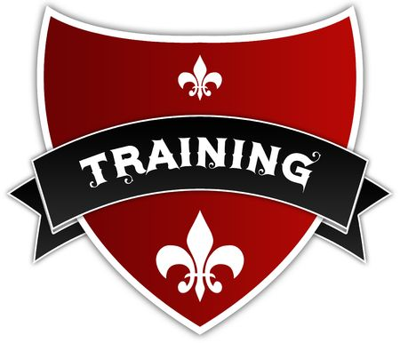 TRAINING on black ribbon above red shield. Illustration Stockfoto