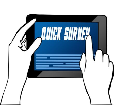 Hand pointing at QUICK SURVEY text on tablet. Illustration. Graphic concept