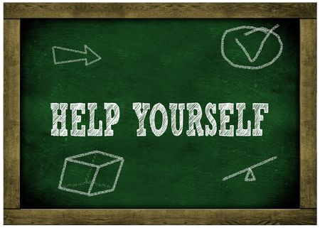 Wood frame green chalkboard with HELP YOURSELF message handwritten in chalk. Illustration
