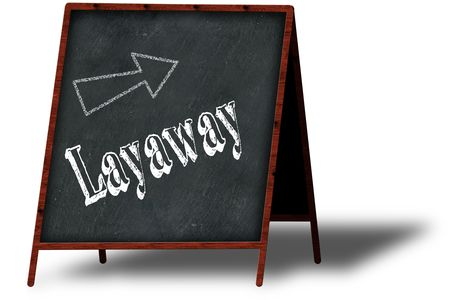 LAYAWAY in chalk on wooden menu blackboard. Illustration concept Stockfoto