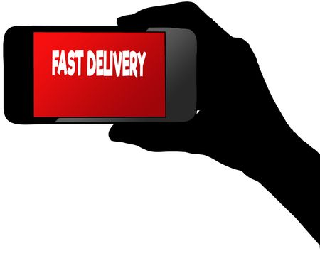 FAST DELIVERY on red smartphone screen. Illustration graphic concept image Stock Photo