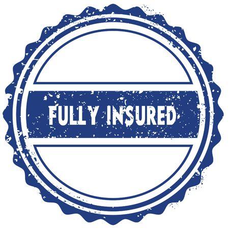 FULLY INSURED stamp. sticker. seal. blue round grunge vintage ribbon sign. illustration Stockfoto
