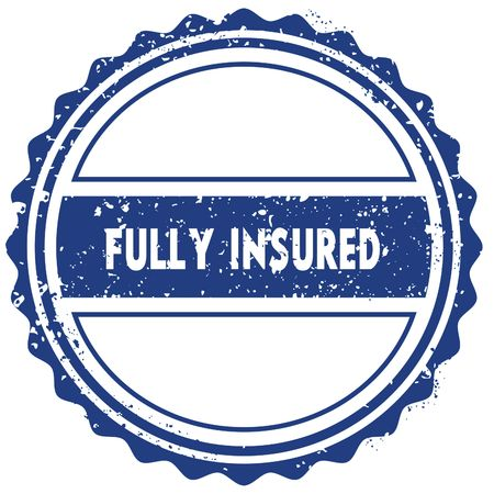FULLY INSURED stamp. sticker. seal. blue round grunge vintage ribbon sign. illustration Stock Photo