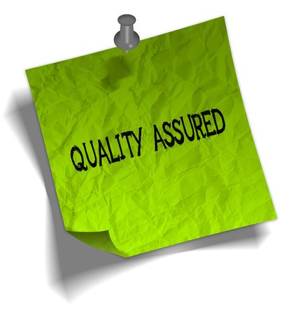Green note paper with QUALITY ASSURED message and push pin graphic illustration.