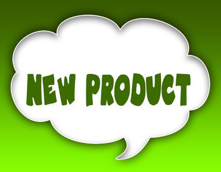 NEW PRODUCT message on speech cloud graphic. Green background. Illustration