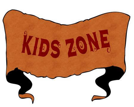 KIDS ZONE written with vintage font on cartoon vintage ribbon. Illustration Stockfoto