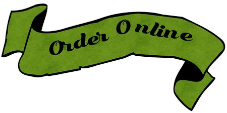 ORDER ONLINE green ribbon. Illustration graphic concept image
