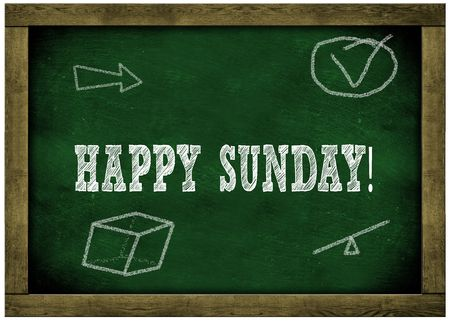 Wood frame green chalkboard with HAPPY SUNDAY   message handwritten in chalk. Illustration